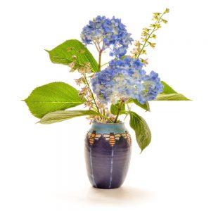 ceramic vase with hand carved bee decoration, craftsmen style ceramic handmade vase