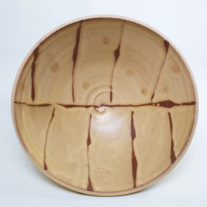 handmade ceramic brown and off white pasta bowl, north carolina pottery