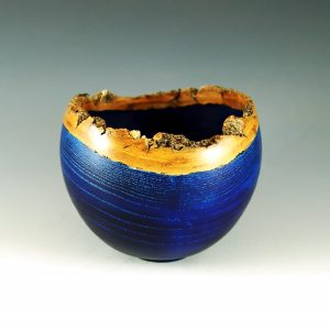 blue ash turned bowl with bark edge