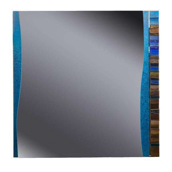 square handmade fused glass mirror, nc kiln glass mirror