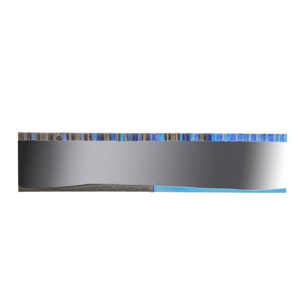 blue fused glass long rectangle mirror