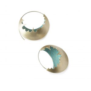 bronze large hoop earrings with turquoise inside