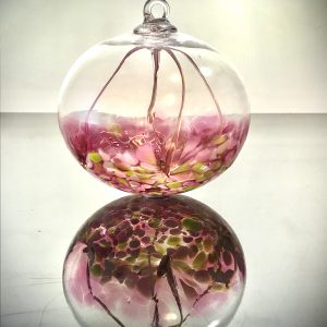 rose colored fairy ball, handmade glass blown fairy or witch ball, handmade good luck charm