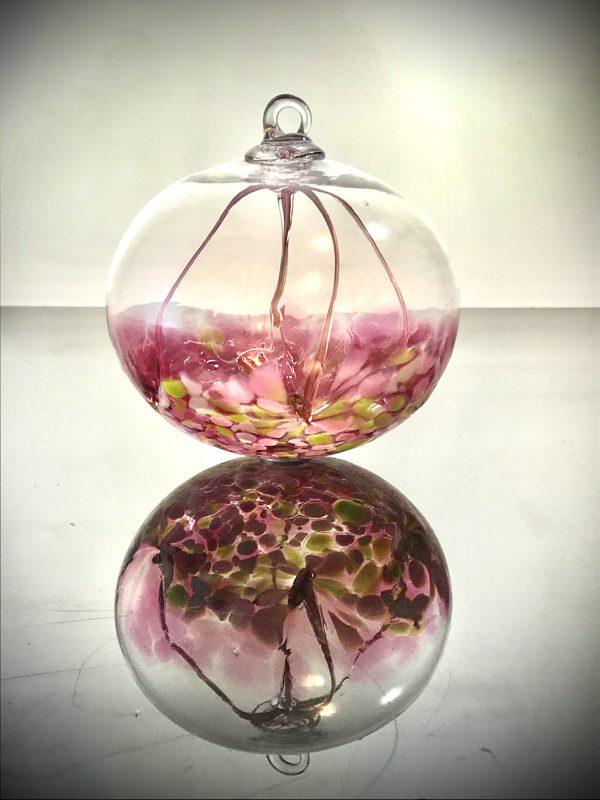 rose colored fairy ball, handmade glass blown fairy or witch ball, handmade good luck charm