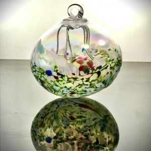 green and white hand blown glass fairy ball, glass witching ball