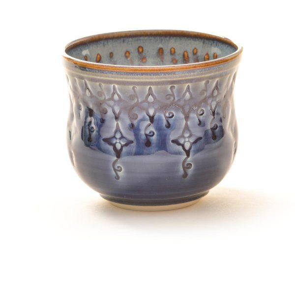 blue wheel thrown and stamped ceramic handmade wine glass, thrown and stamped pottery wine cup