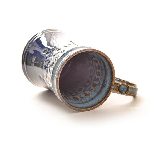 wheel thrown and stamped handmade ceramic mug