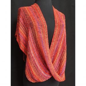 orange sunset colored handwoven cotton swoop poncho