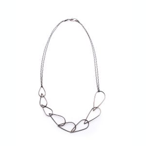 handmade oxidized silver open leaf linked necklace