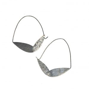 oxidized silver hammered texture earrings with large hoop, large feather hoop silver earrings