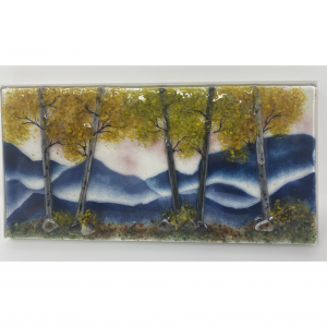 glass mountain landscape mounted on wood panel