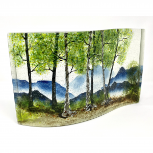 spring landscape in the mountains captured in fused glass