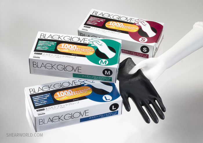 Okamoto Black Latex Gloves - 50 gloves (25 pair)
