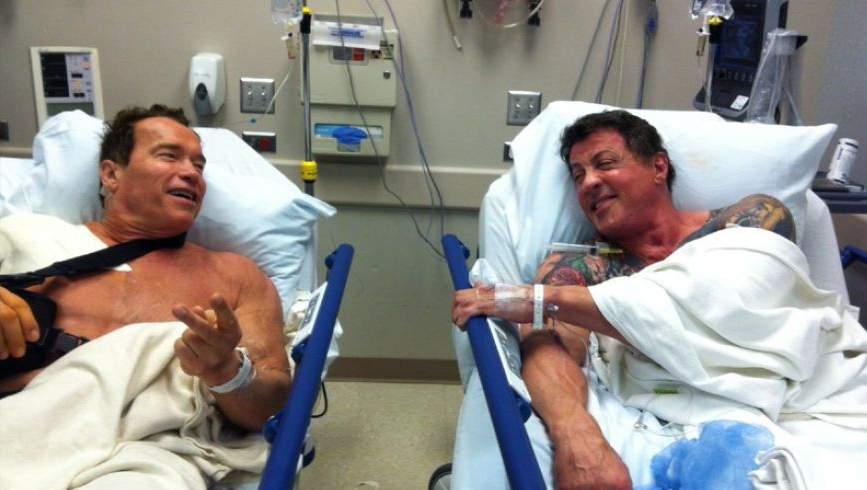 Gym Injuries: Arnold Schwarzenegger and Sylvester Stallone With Shoulder Injuries