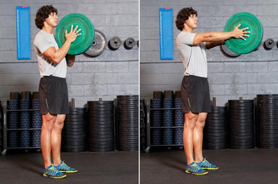 Cardio Exercises to Lose Fats and Build Body: Plate Push Press / Svend Press