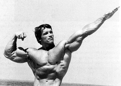 Bodybuilding Technique: Arnold Schwarzenegger Using Stretching Technique