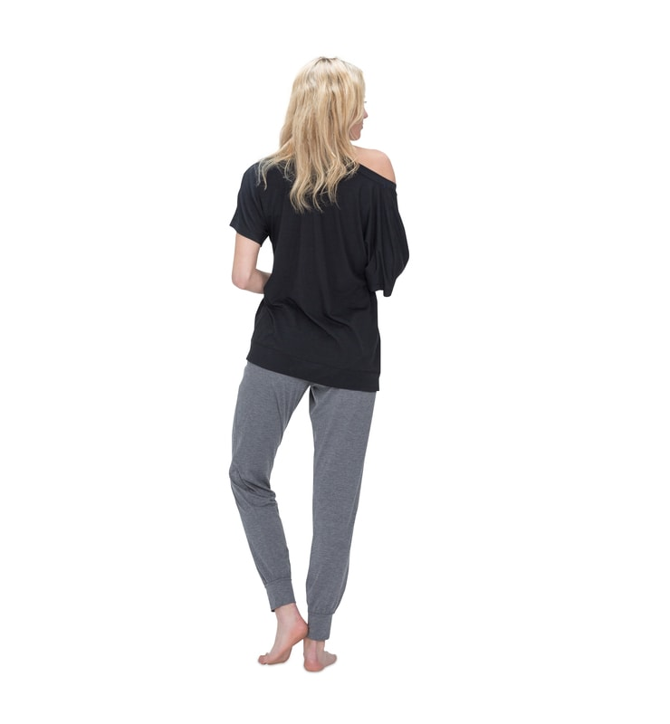 828 women dolman shortsleevet black back