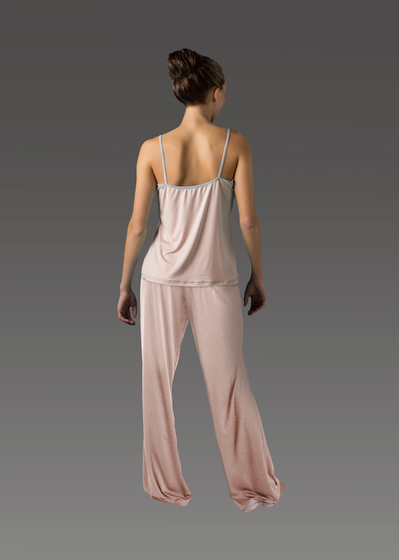 Sleepwear product w flarepant pink back