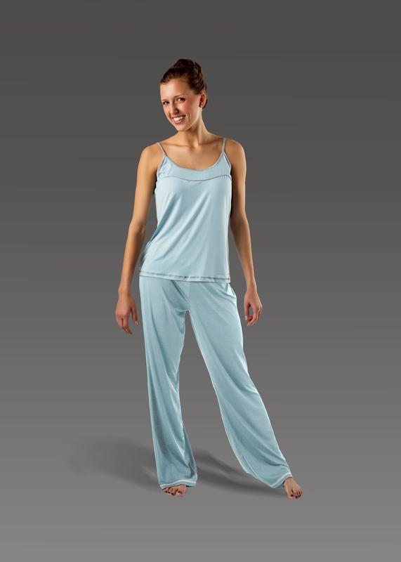 Sleepwear product w flarepant blue front