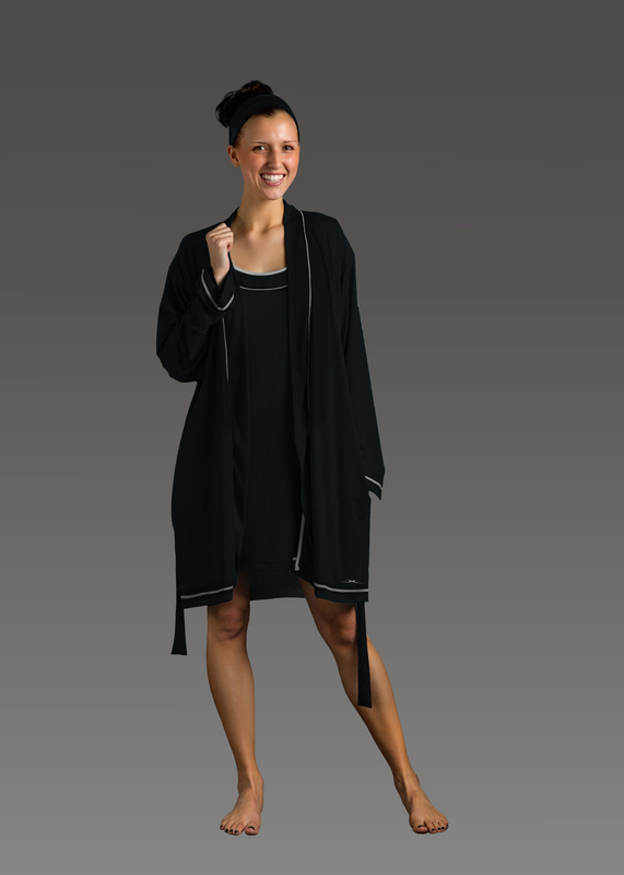 Sleepwear product w robe black front