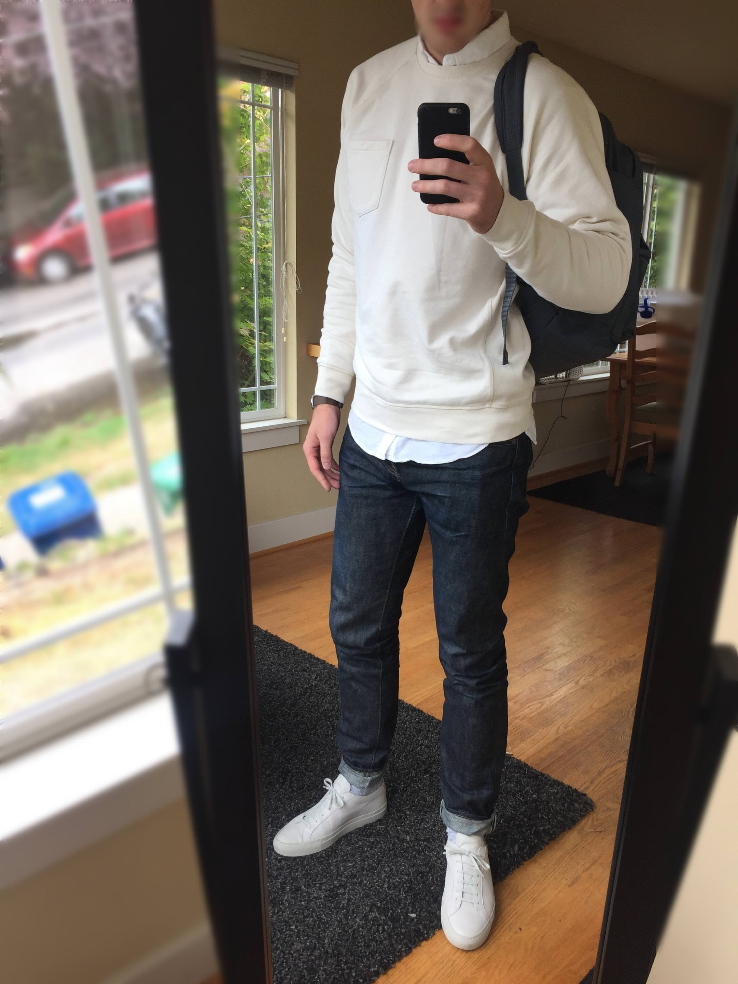 White on White Oxford Pull Over and Blue Jeans