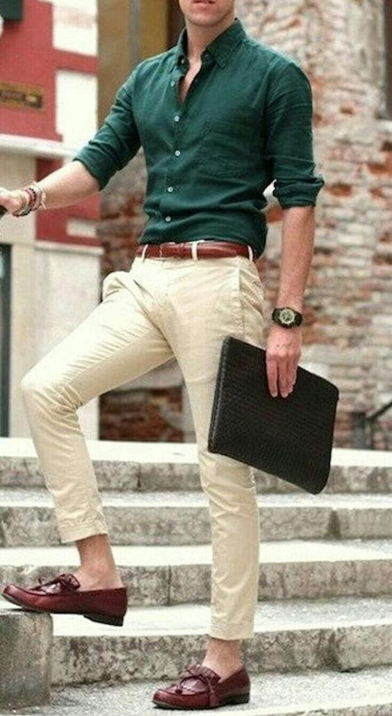 Cropped Khaki with Green Shirt