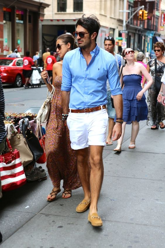 White Shorts with Button Up and Loafers