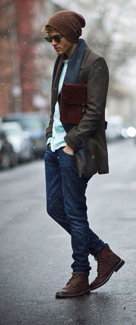 Casual Jeans with Boots and Beanie