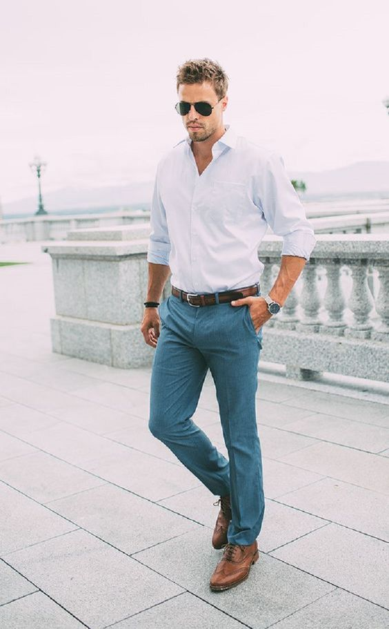 Teal Pants with White Button Up