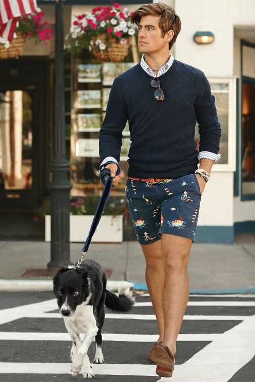 Shorts with Sweater and Button Down