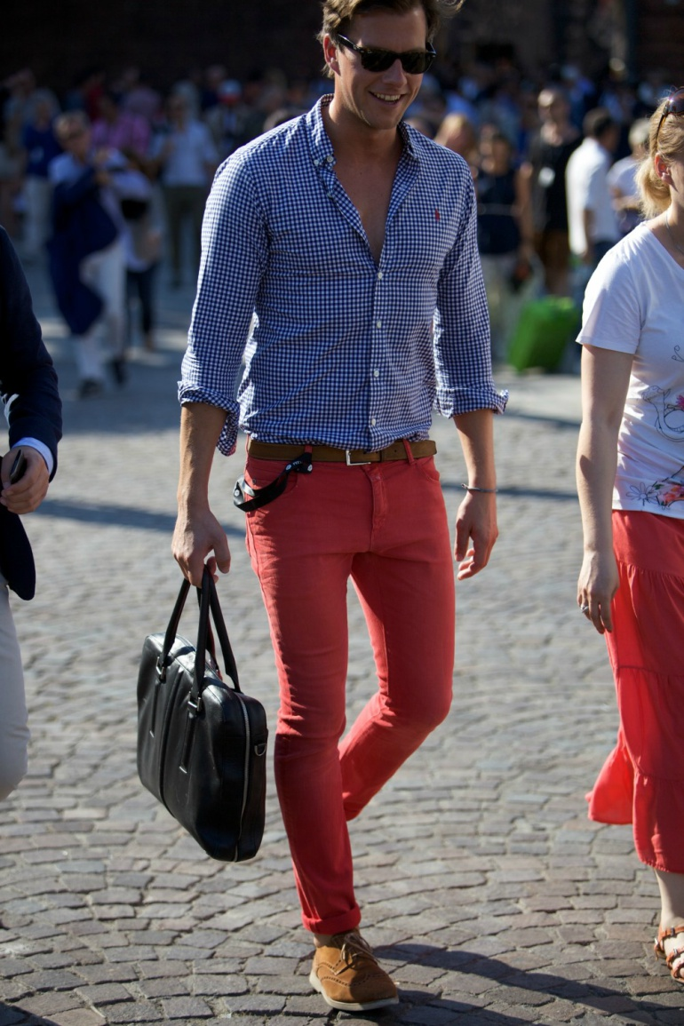Salmon Pants with Blue Button Down