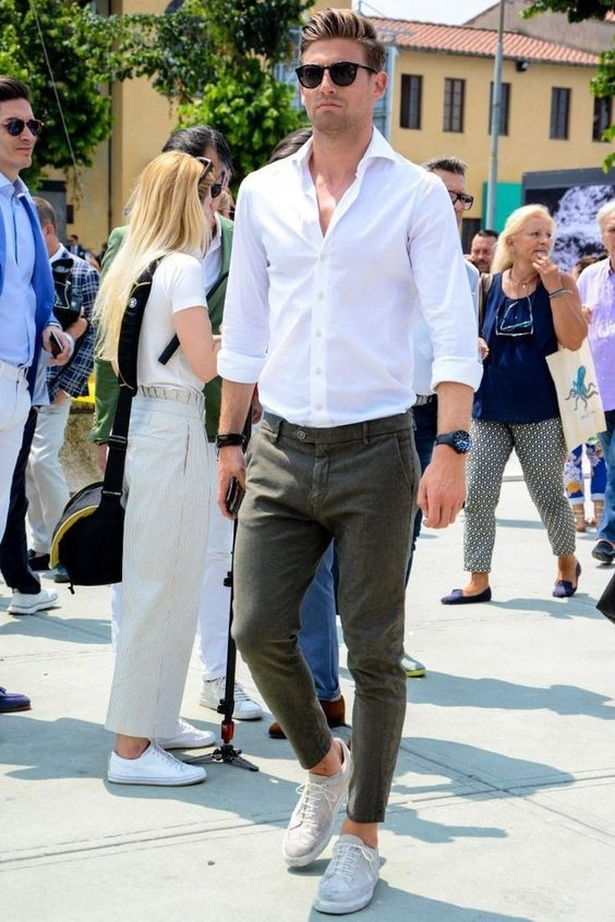 White dress shirt with green chines and sneakers
