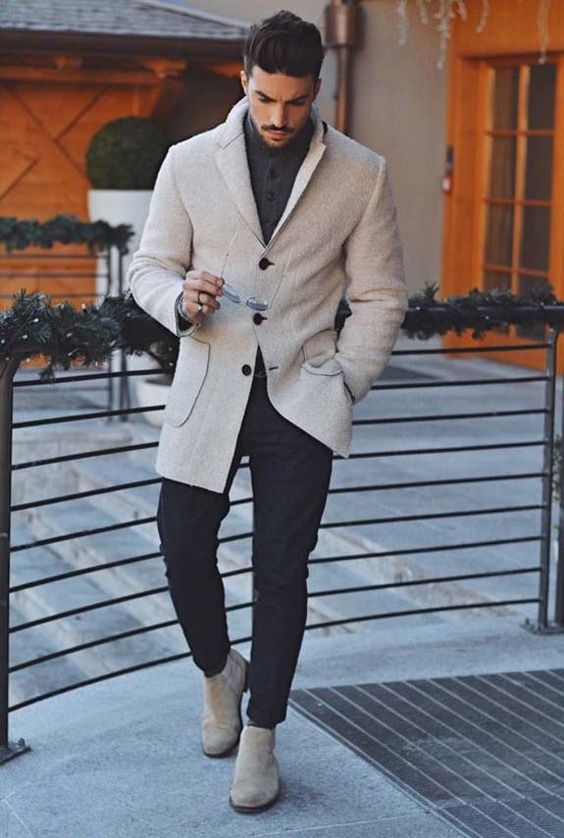 White Overcoat with Jeans and Suede Boots