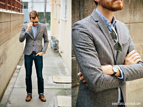 Gray Tweed Jacket With Jeans
