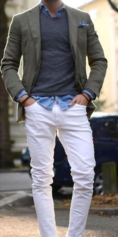 White Jeans with Olive Blazer