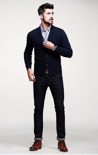 Casual Dark Cardigan and Oxford Shirt.