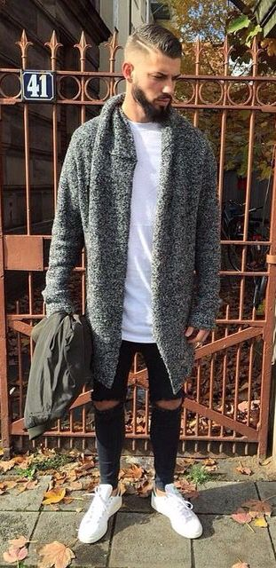 Oversize Cardigan and Ripped Jeans