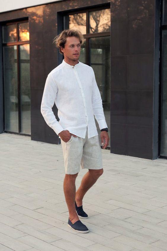 Mandarin collar shirt with khaki shorts