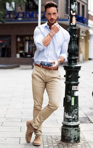 Business Casual Blue Button Down with Tan Chinos