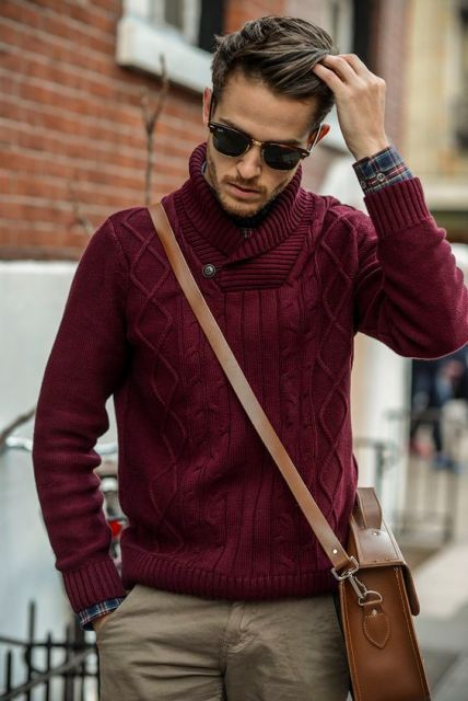 Red Sweater With Chinos