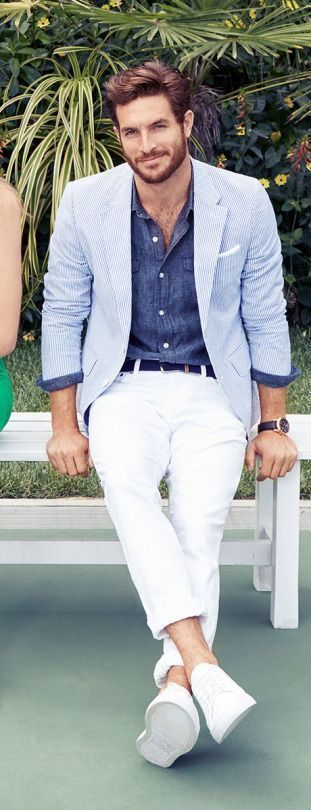 White Chinos with Chambray Shirt and Blue Jacket