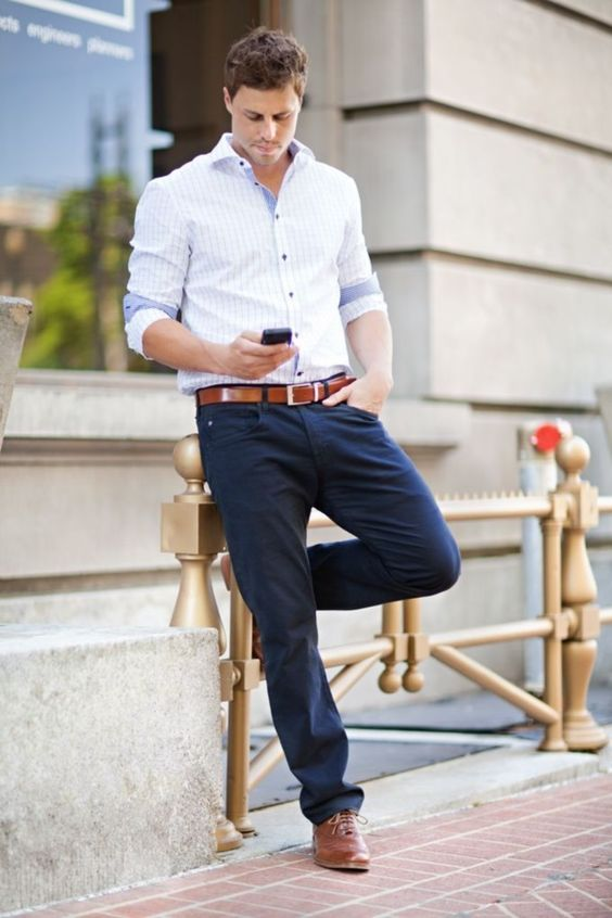 Dress Shirt with Navy Pants