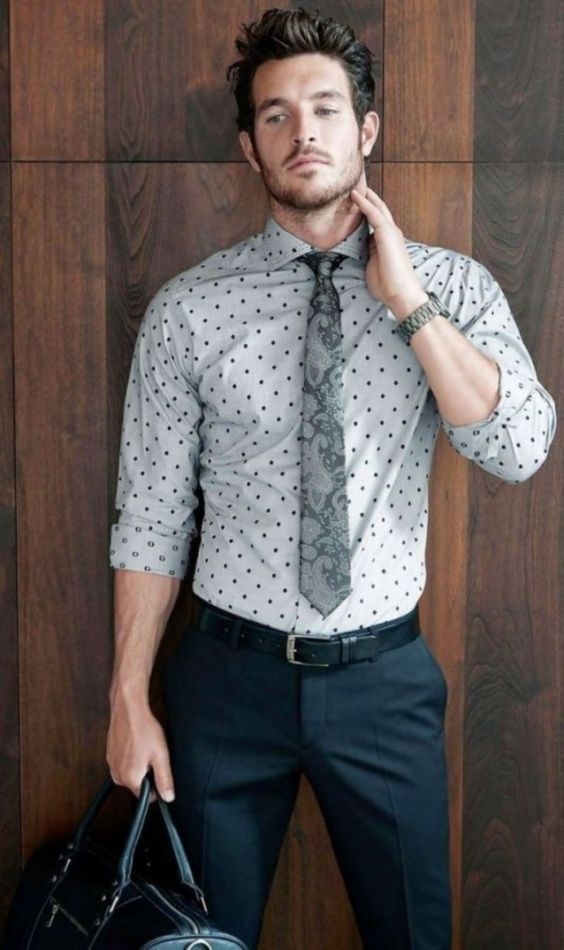 Polka Dot Dress Shirt with Slacks