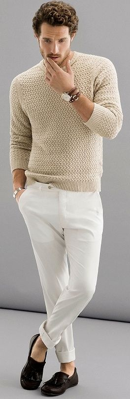 White Chinos with Beige Sweater and Loafers
