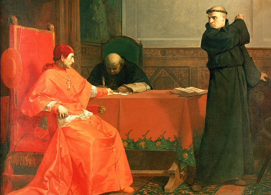 Luther in front of Cardinal Cajetan during the controversy of his 95 Theses