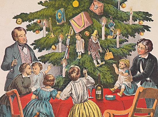 gezin_bij_de_kerstboom_c1860-christmas_tree_presents-550x408