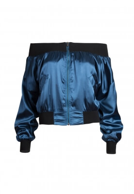 A FOOL FOR YOU OFF SHOULDER SATIN BOMBER JACKET