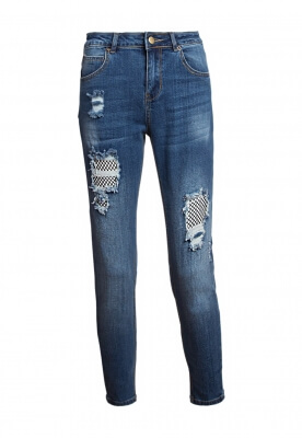 PICK ME UP MESH PANEL DISTRESSED DENIM JEANS