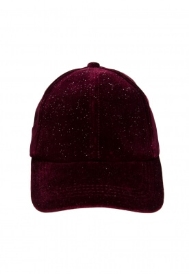 SHIMMERED VELVET BASEBALL CAP IN BURGUNDY