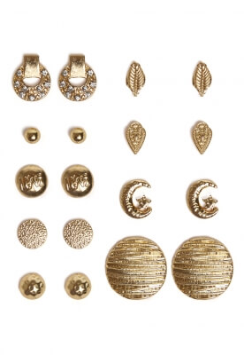 STUD EARRINGS SET IN GOLD